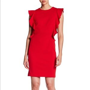 Donna Morgan Red Ruffle Crepe Sheath Dress 14